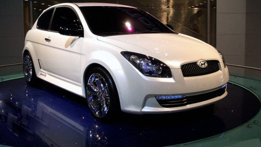 Hyundai on car turntable in showroom
