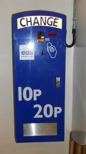 Blue painted change machine