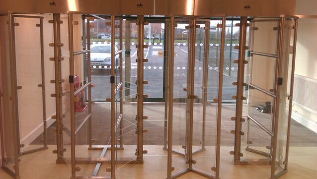 Glass entrance turnstiles