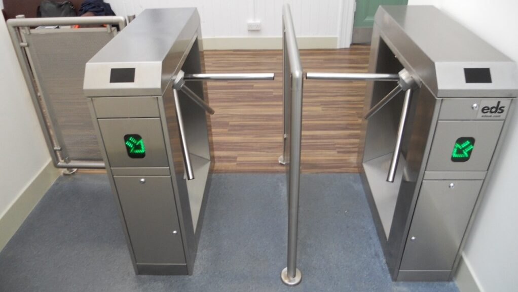 Double half height turnstiles with directional indicator lights