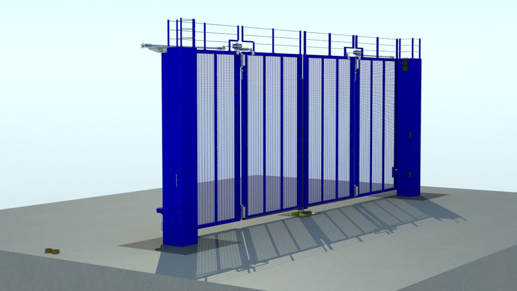 Rendering of automatic commercial bifolding gate