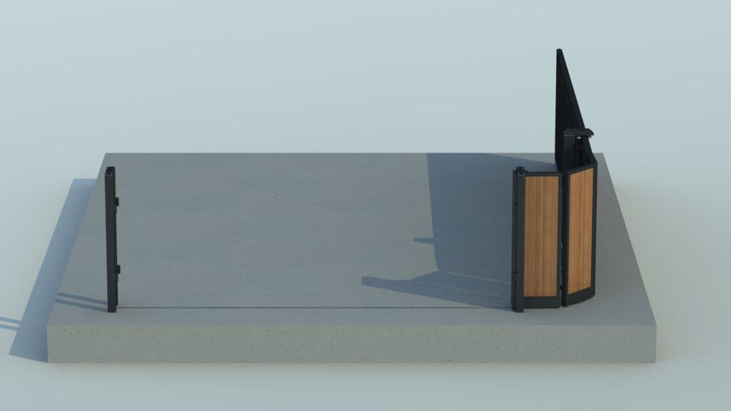 Engineering rendering of an open around the corner gate