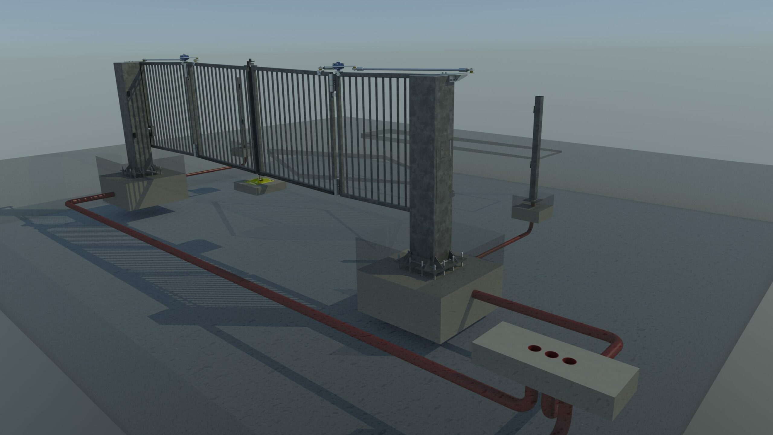 Engineering rendering of an automatic commercial gate showing the underground cabling