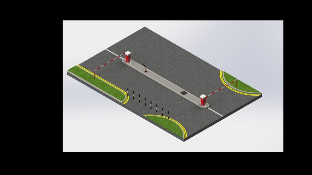 Design rendering of an automatic traffic control barrier system