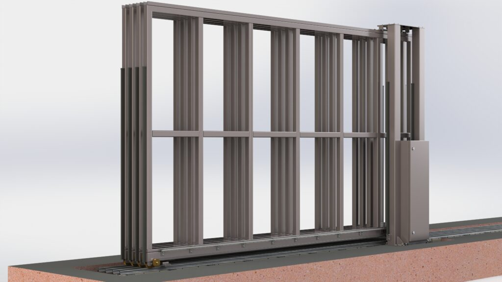 Engineering rendering of an automatic commercial gate