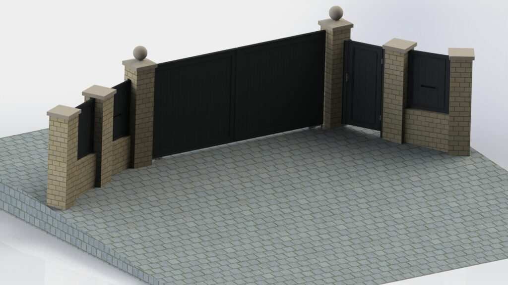 Engineering rendering of automatic aluminium gates