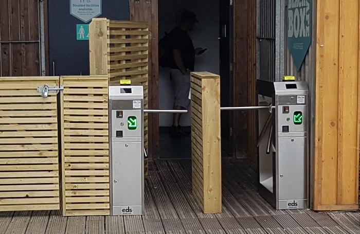 Photo of half height external turnstiles