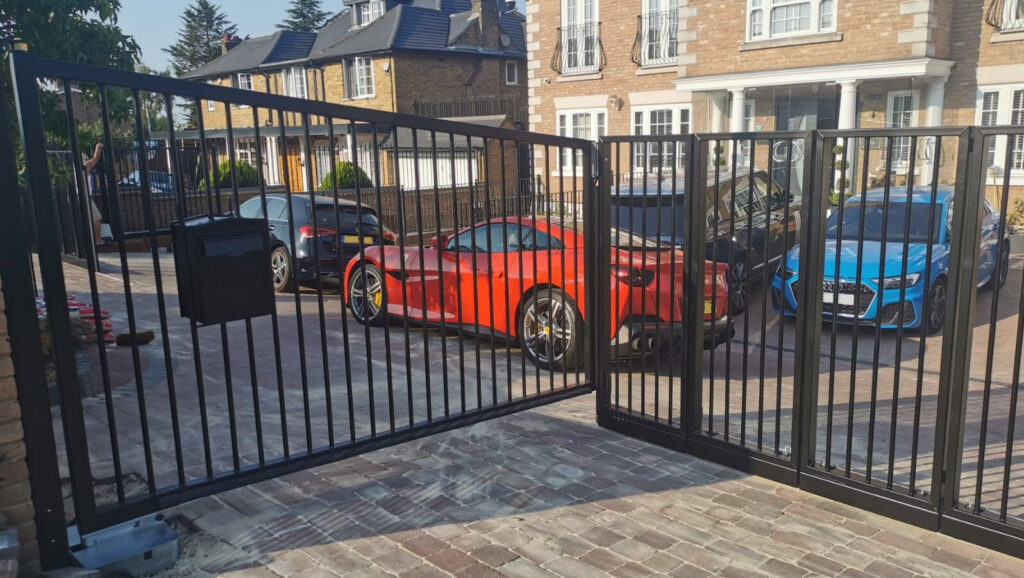 Residential installation of an around the corner gate