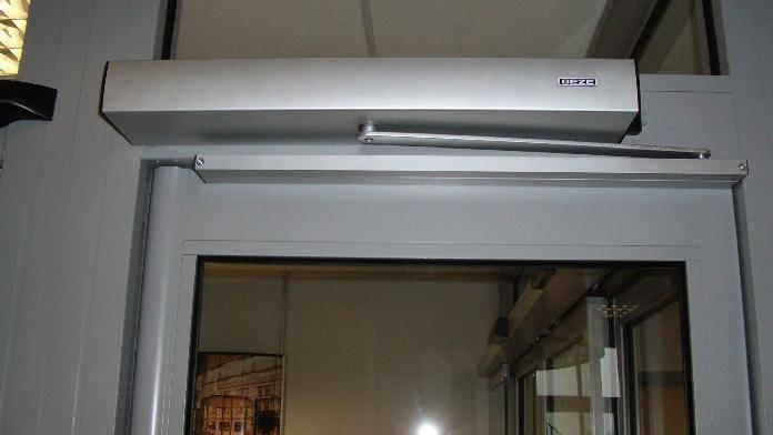 Automatic door opener on glass entrance door