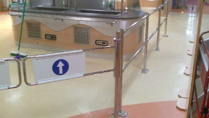 Supermarket style pedestrian access gates with modular queue management rail