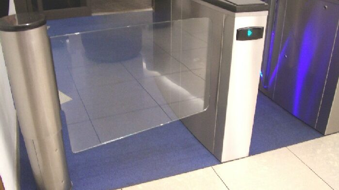 Wide glass access gate