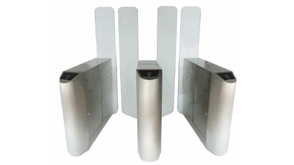 Glass speedgate paddle flap gates