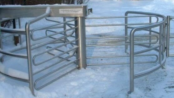 Extra wide stainless steel external turnstile gate
