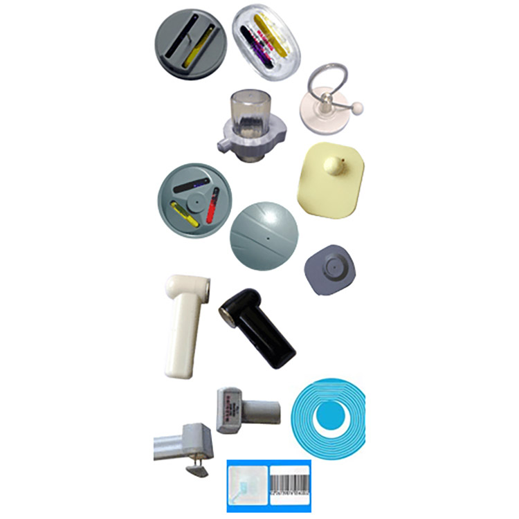 Photo of range of electronic article surveillance tags
