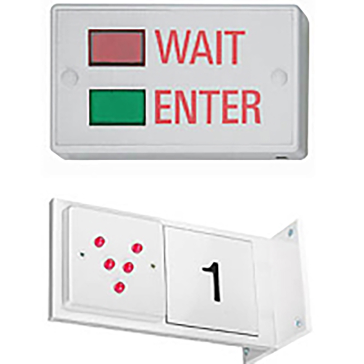 Photo of wait and enter sign and corridor flag