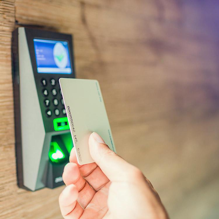 Person using an RFID access card