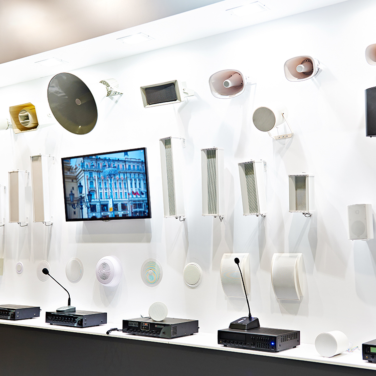 Photo of a range of public address tannoy systems