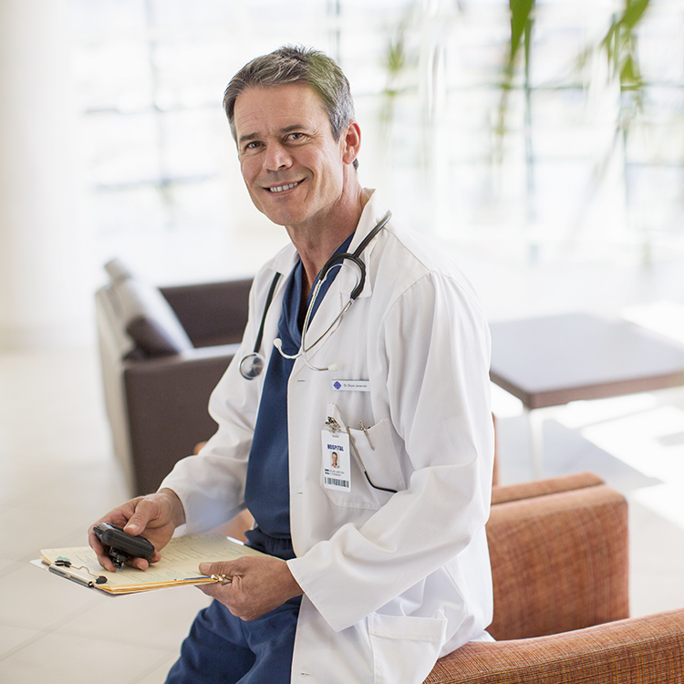Photo of doctor using a pager device