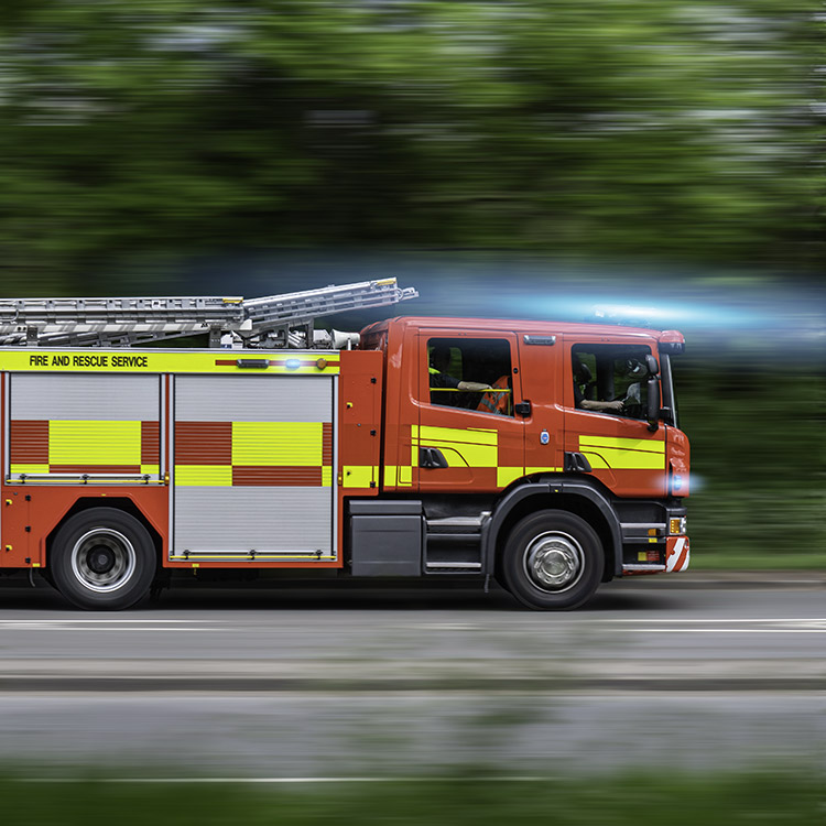 Photo of fire engine responding to an emergency