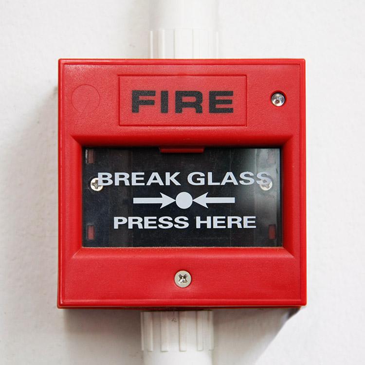 Photo of emergency break glass fire alarm