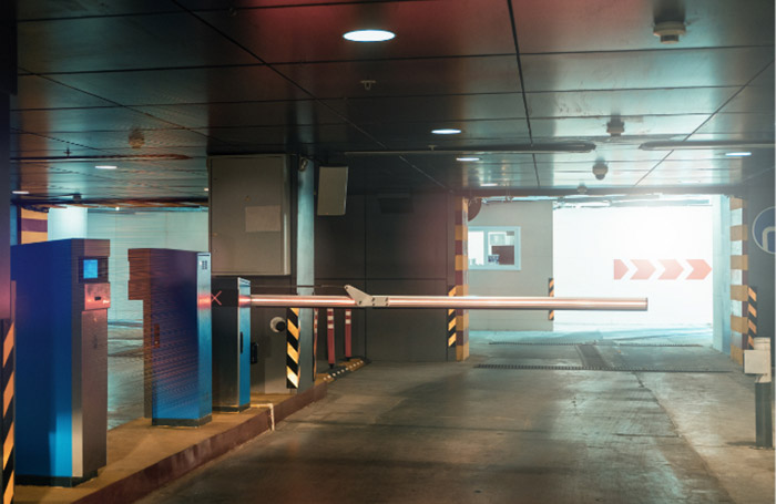 Automatic barriers in a car park