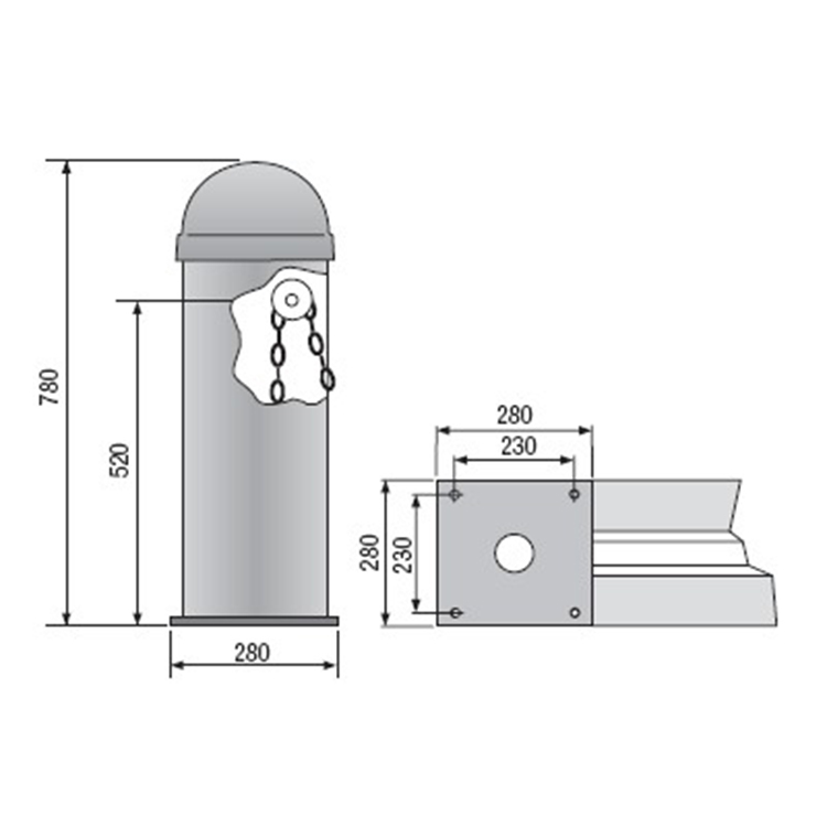 Specifications of the automatic chain and bollard barrier system