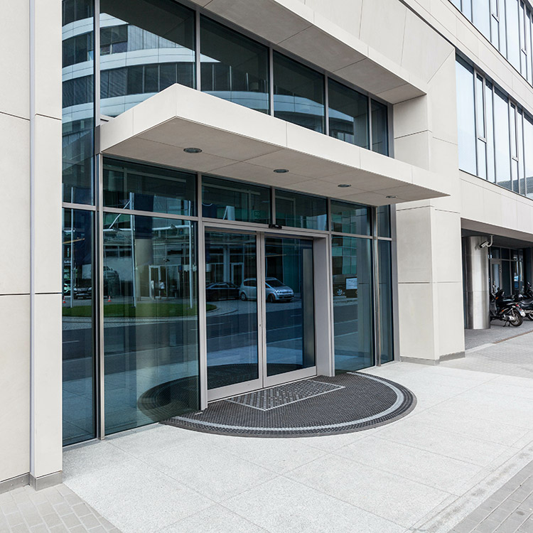 Automatic sliding door at the entrance to an office building