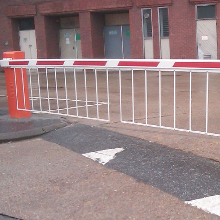 Automatic rising boom arm at the entrance of a private car park
