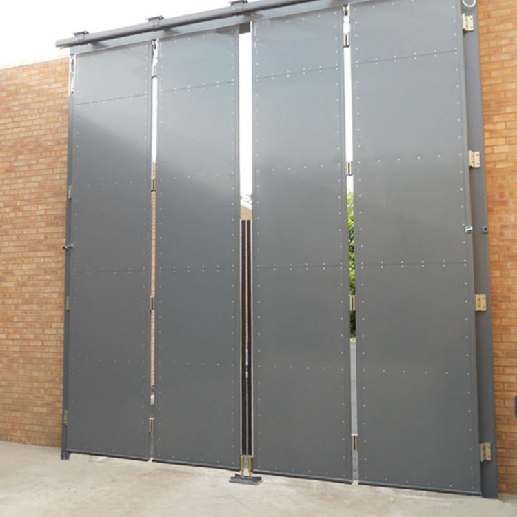Secure automatic commercial bifolding gate