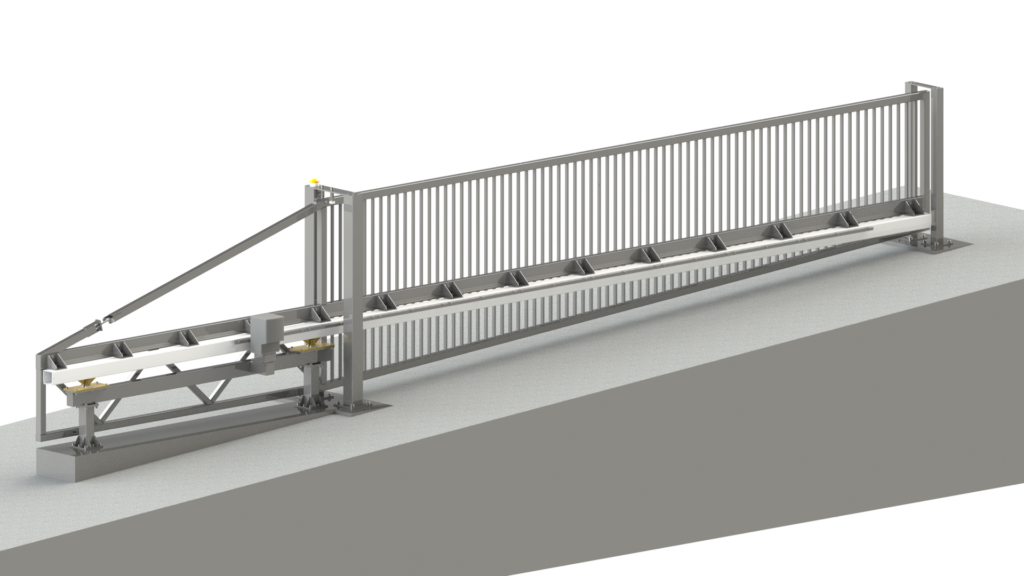 Engineering rendering of a closed automatic sliding gate installed on a slope