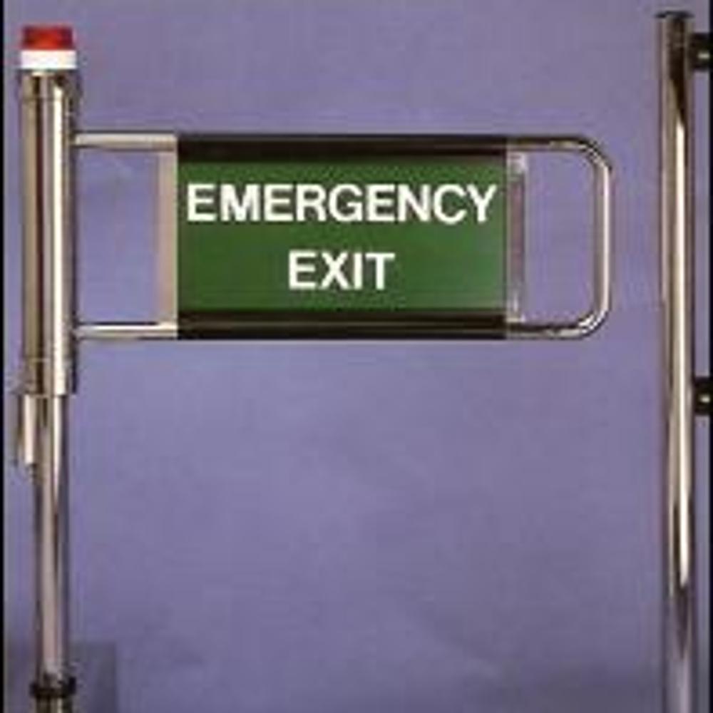 EDSUKBAP10 supermarket style emergency exit gate with flashing beacon