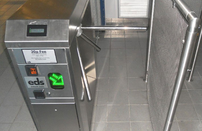 Coin operated turnstile with directional arrows