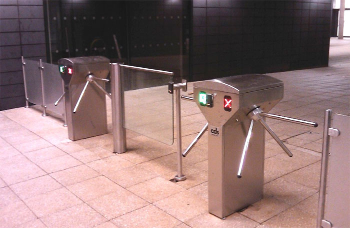 Double Head Stainless Steel Turnstile with directional arrows