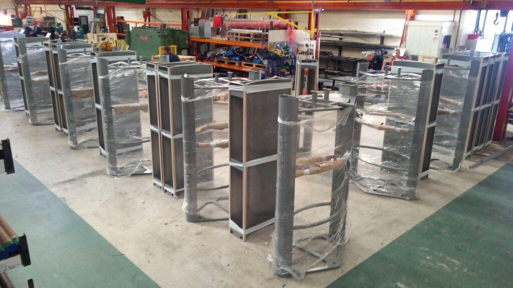 Photo of full height stadium turnstiles under construction