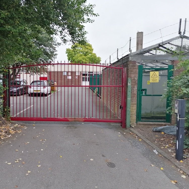 Photo of automatic sliding gate with intercom post at Percy Shurmer School