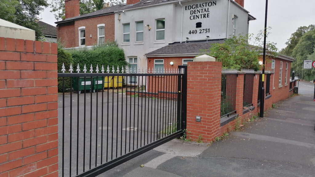Photo of automatic sliding gate installed at Edgbaston Dental Centre
