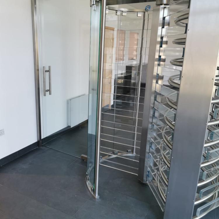 Full Height Glass Leaf Turnstiles & Full Height Side DDA Wide Glass Gate