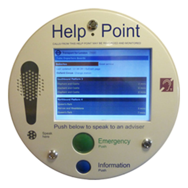 City centre help point with touch screen