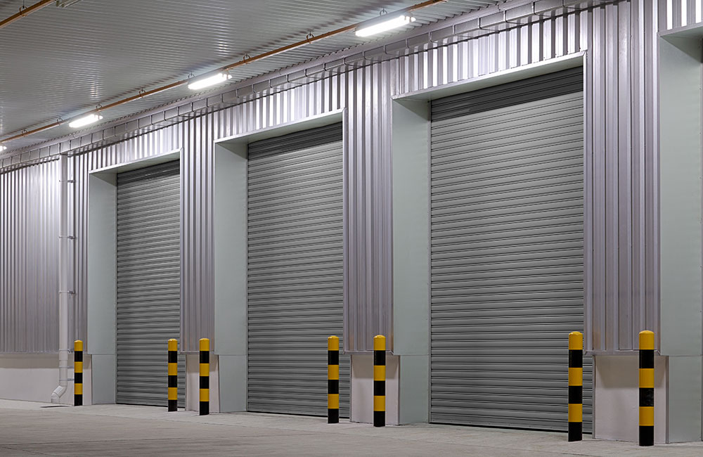 Photo of roller doors on the outside of a building