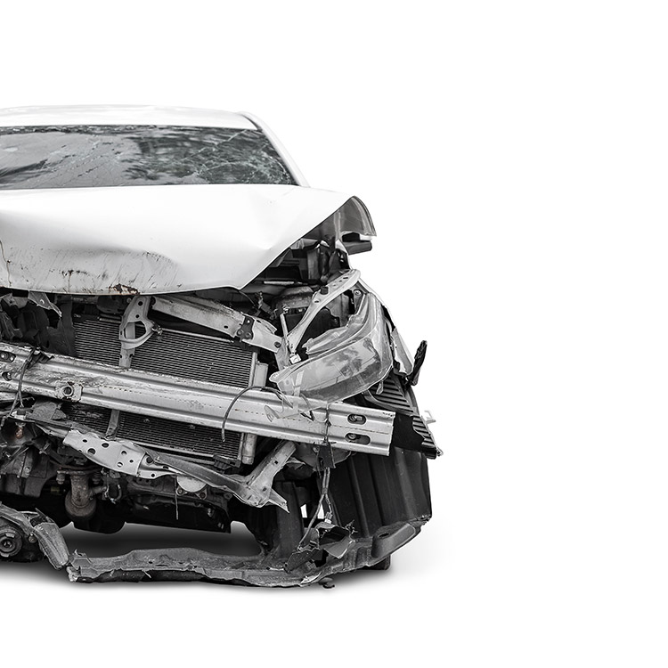 Image of a car destroyed in a crash
