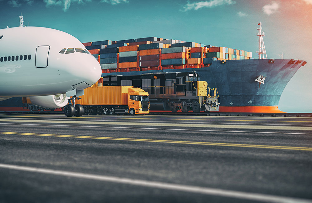 Graphic showing a plane, truck, train and cargo ship next to each other