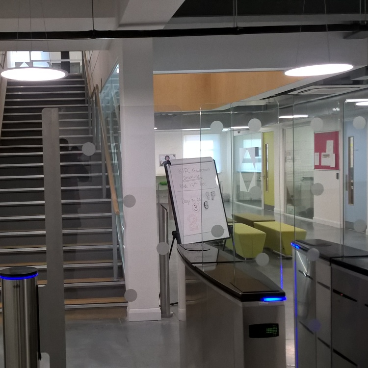 Photo of automatic glass speedgates at ADA College London