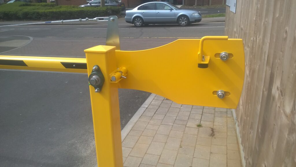 EDS manual barrier arm across the entrance to a residential estate
