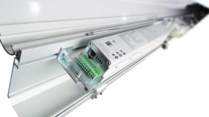 Close-up of automatic sliding door mechanism