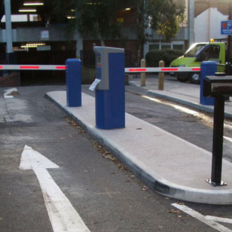 Access control barriers and ticketing system at the entrance of a car park