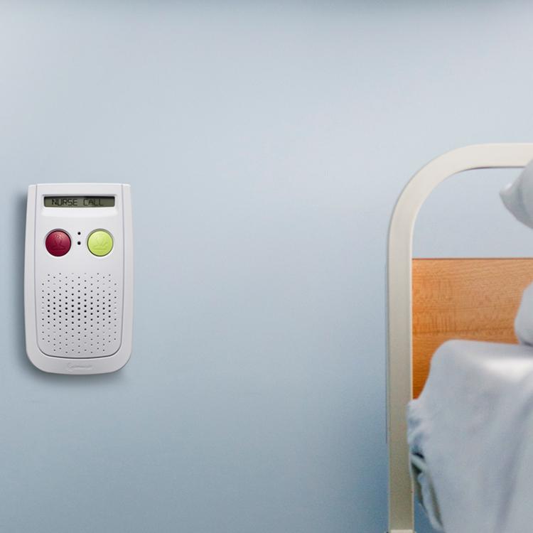 Photo of a wall mounted nurse call unit