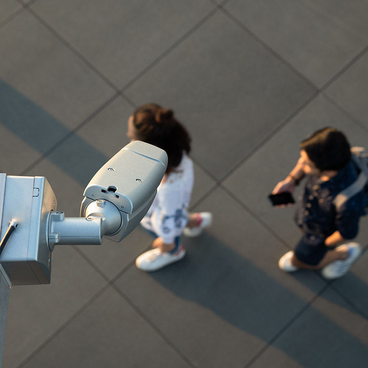Wall mounted CCTV camera in public space
