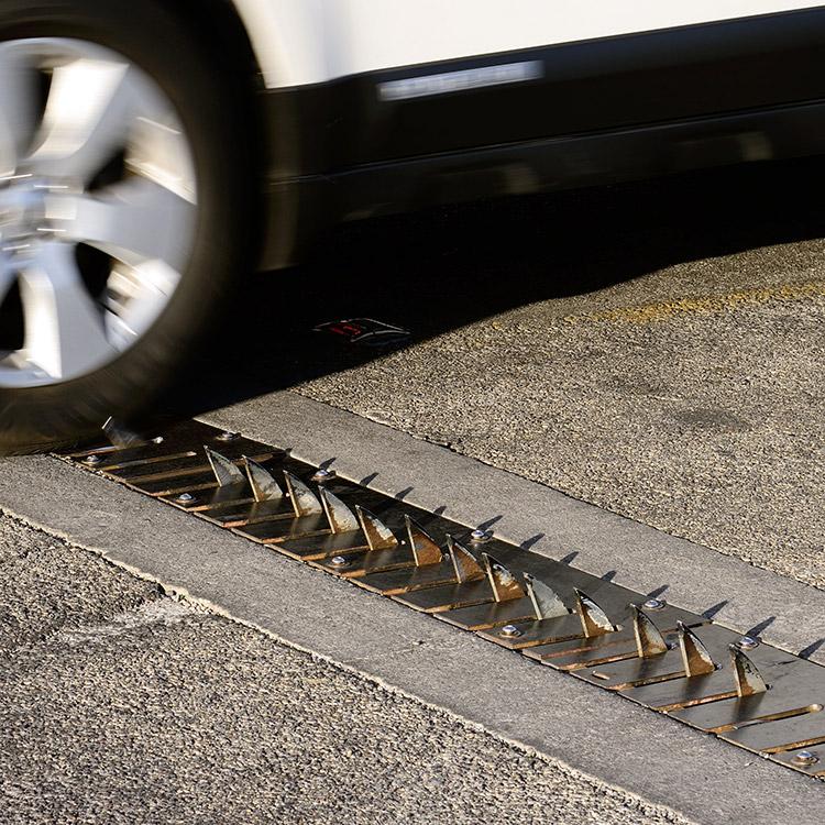 Tyre killer installed across road