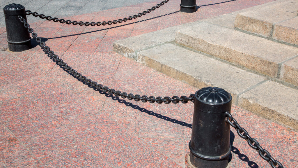 Bollards connected by chains