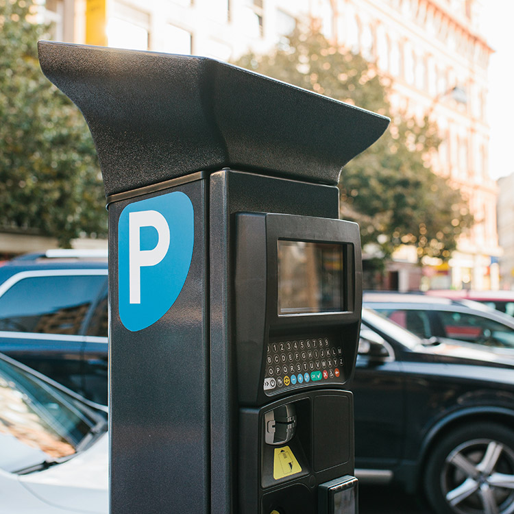 Photo of solar powered pay and display ticket machine